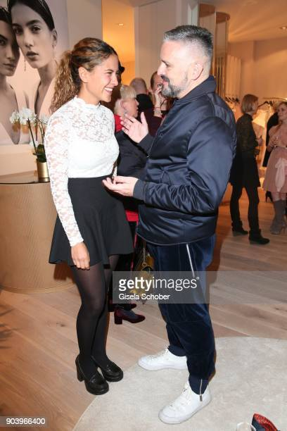 Amanda da Gloria and Fashion designer Adrian Runhof during the opening of the Kaviar Gauche Bridal Concept Store on January 11 2018 in Munich Germany