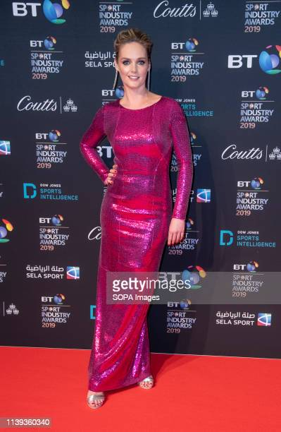 Amanda Davies appears on the red carpet ahead of the BT Sport Industry Awards 2019 at Battersea Evolution