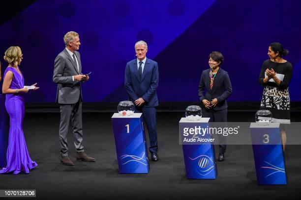 Amanda Davies Denis Brogniart head coach of France Didier Deschamps Aya Miyama of Japan and Steffi Jones during the Women's World Cup Draw 2019 at La...