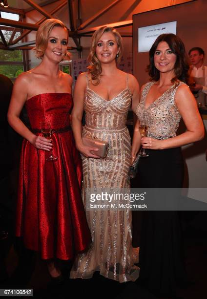 Amanda Davies Hayley McQueen and Bianca Westwood pose during the BT Sport Industry Awards 2017 at Battersea Evolution on April 27 2017 in London...