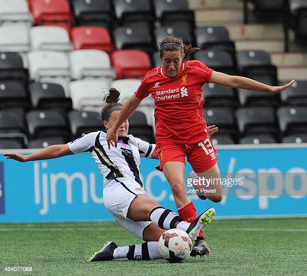 Amanda De Costa of Liverpool is taken out be Amy Turner of Notts County at Select Security Stadium on August 24, 2014 in Widnes, England.