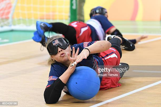 Amanda Dennis of the USA blocks the ball in the women's Goalball on day 4 of the Rio 2016 Paralympic Games at Future Arena on September 11 2016 in...
