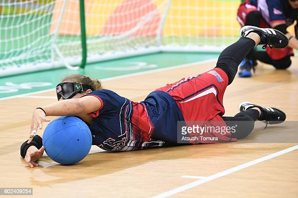 Amanda Dennis of the USA dives to block the ball in the women's Goalball on day 4 of the Rio 2016 Paralympic Games at Future Arena on September 11...