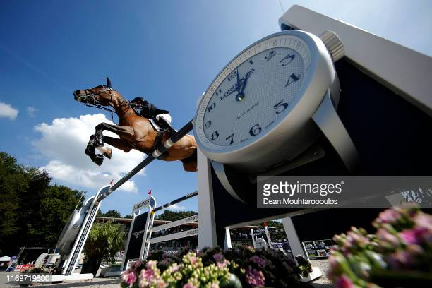 Amanda Derbyshire of Great Britain or Team GB riding Lubianta BH competes during Day 4 of the Longines FEI Jumping European Championship 2nd part,...