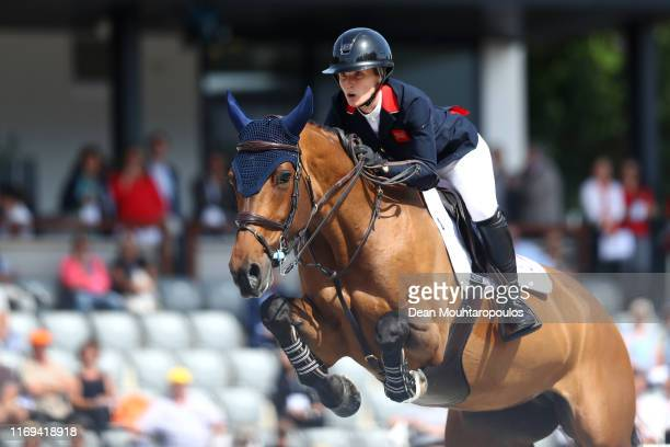 Amanda Derbyshire of Great Britain or Team GB riding Luibanta BH competes during Day 3 of the Longines FEI Jumping European Championship speed...