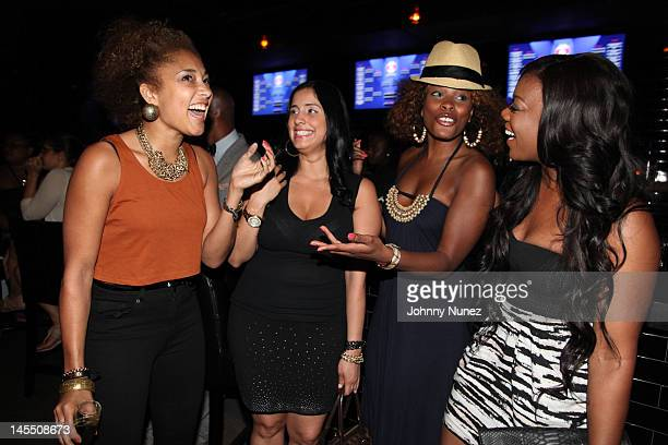 Amanda Diva Laura Stylez K Foxx and Meeka Claxton attend the NY Giants Justin Tuck 4th Annual celebrity billiards tournament at Slate NYC on May 31...