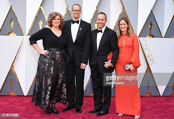 Amanda Docter director Pete Docter producer Jonas Rivera and Michele Rivera attends the 88th Annual Academy Awards at Hollywood Highland Center on...
