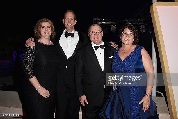 Amanda Docter Pete Docter John Lasseter and Nancy Lasseter attend the 'Inside Out' party during the 68th annual Cannes Film Festival on May 18 2015...