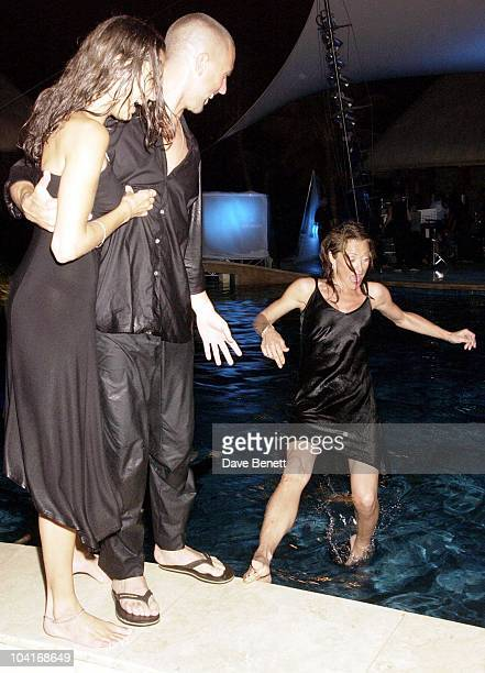 Amanda Donahue Falls Into The Pool Watched By Brandon Kerzner And His Girlfriend Angie, The Gala Opening Party At The One & Only Le Touessrok Hotel...