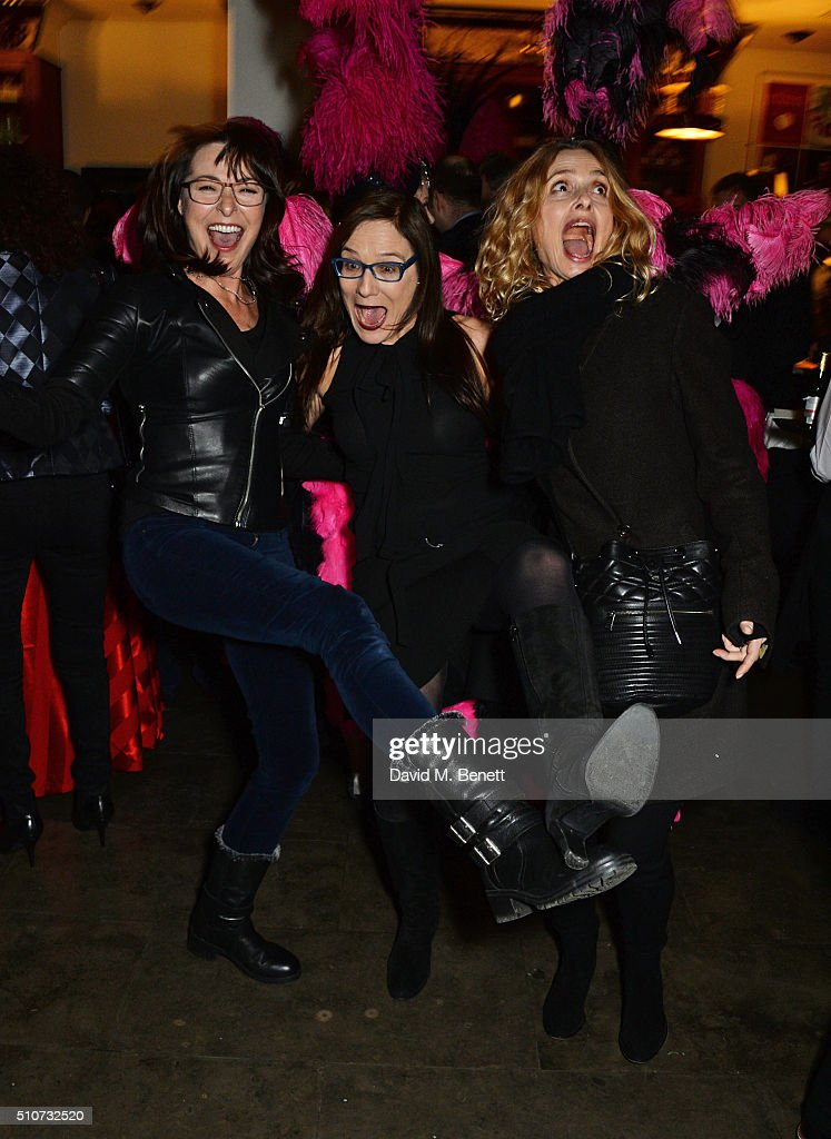 Amanda Donohoe, Cordelia Donohoe and Maryam d'Abo attend the press night after party for 'Mrs Henderson Presents' at The National Cafe on February 16, 2016 in London, England.