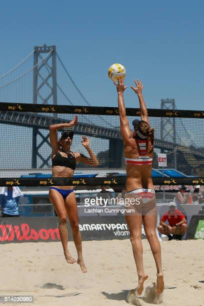 Amanda Dowdy looks to block the shot of Janelle Allen during day 2 of the AVP San Francisco Open at Pier 3032 on July 7 2017 in San Francisco...