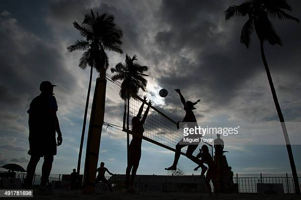 Amanda Dowdy United of States spikes the ball during the FIVB Puerto Vallarta Open at Camarones Beach on October 07, 2015 in Puerto Vallarta, Mexico.