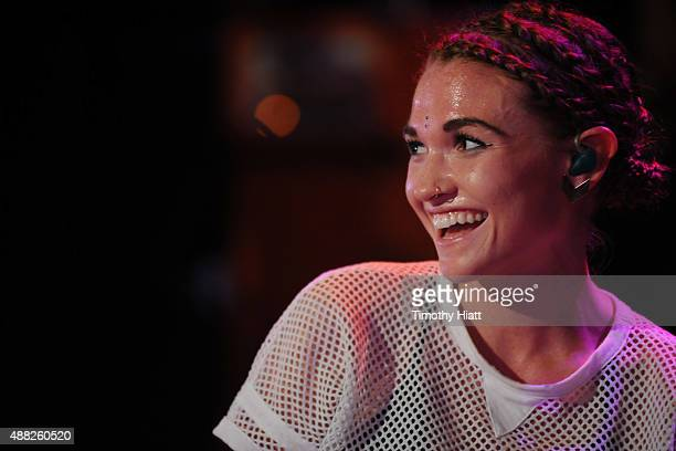 Amanda Duffy of MisterWives performs at Charter Spectrum Presents MisterWives Powered By Pandora on September 14 2015 in Madison Wisconsin