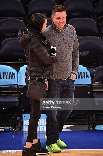 Amanda Dufner and Jason Dufner attend New York Knicks vs Dallas Mavericks game at Madison Square Garden on December 16 2014 in New York City