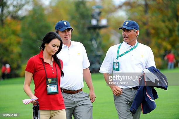 Amanda Dufner Jason Dufner and US Team captain Fred Couples is seen during the Final Round Singles Matches of The Presidents Cup at the Muirfield...