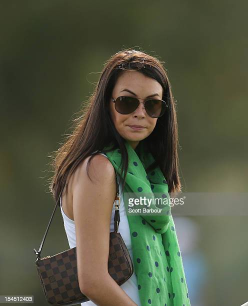 Amanda Dufner wife of American golfer Jason Dufner looks on during day four of the Perth International at Lake Karrinyup Country Club on October 21...