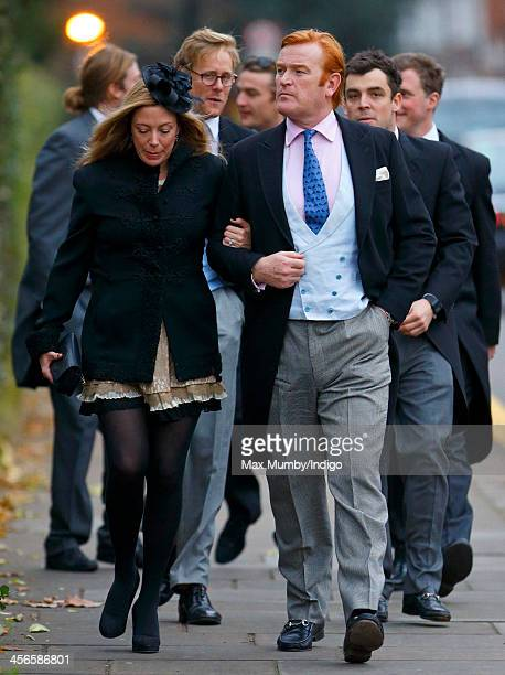 Amanda Dyer and Mark Dyer attend the wedding of Jake Warren and Zoe Stewart in the Wren Chapel at the Royal Hospital Chelsea on December 14 2013 in...