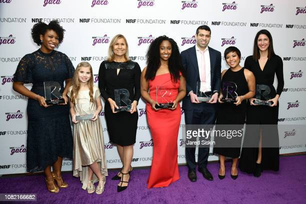 Amanda E Johnson Charlotte Gould Joe Malone KJ Miller Ajay Jori Jen Rubio and Steph Korey win The Dreamers 2019 award at the 2019 NRF Foundation Gala...
