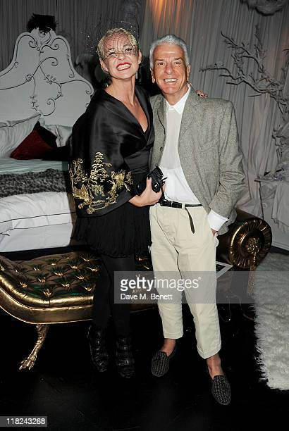 Amanda Eliasch and Nicky Haslam attend an after party celebrating press night of Amanda Eliasch and Lyall Watson's 'As I Like It' playing at Chelsea...