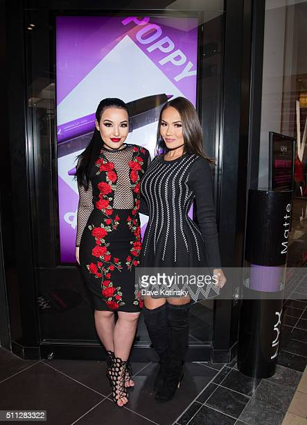 Amanda Ensing and Maryam Maquillage attend the NYX Professional Makeup Store Willowbrook Grand Opening Ribbon Cutting on February 19 2016 in Wayne...