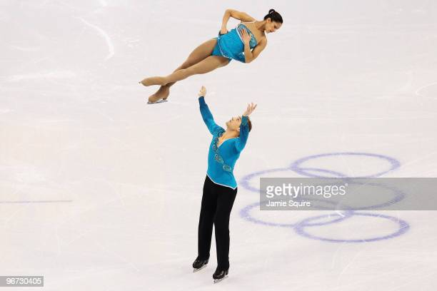 Amanda Evora and Mark Ladwig of United States compete in the figure skating pairs free skating on day 4 of the Vancouver 2010 Winter Olympics at the...