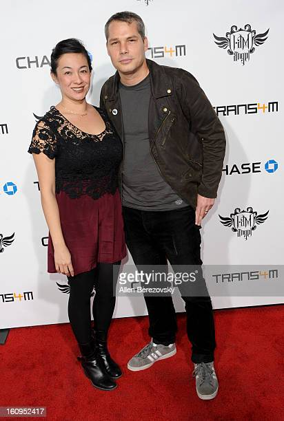 Amanda Fairey and artist Shepard Fairey attends WillIAm's Annual TRANS4M Concert Benefitting IAmAngel Foundation Red Carpet on February 7 2013 in...