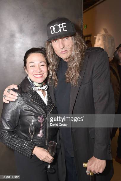 Amanda Fairey and Bobby Carlton attend the Vhils 'Annihilation' Opening Reception on February 22 2018 in Los Angeles California