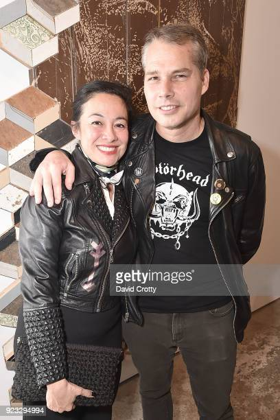 Amanda Fairey and Shepard Fairey attend Vhils 'Annihilation' Opening Reception on February 22 2018 in Los Angeles California