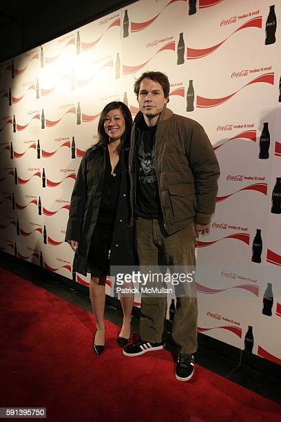 Amanda Fairey and Shephard Fairey attend CocaCola 'Make It Real' Launch Party with Shepard Fairey and Jennifer Nicholson at Marquee on February 10...