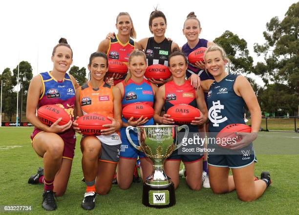 Amanda Farrugia of the Giants Daisy Pearce of the Demons Emma Zielke of the Lions Steph Chiocci of the Magpies Lauren Arnell of the Blues Kara...