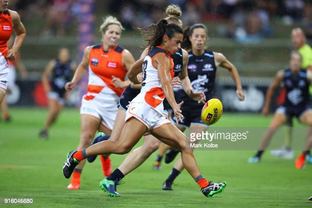 Amanda Farrugia of the Giants kicks during the round 20 AFLW match between the Greater Western Sydney Giants and the Carlton Blues at Drummoyne Oval...
