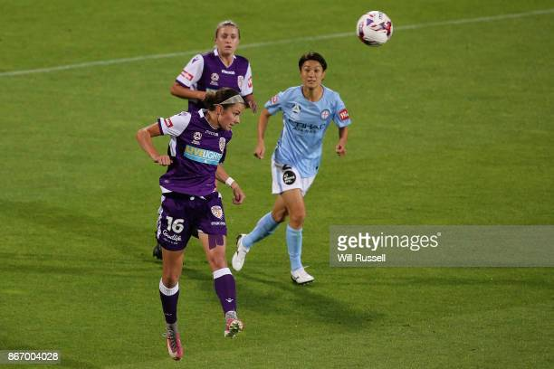 Amanda Frisbee of the Glory heads the ball during the round one WLeague match between the Perth Glory and Melbourne City FC at nib Stadium on October...