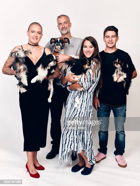 Amanda Giese Byron Giese Jade Giese and Beast Giese of Animal Planet's 'Amanda to the Rescue' pose for a portrait during the 2018 Summer Television...