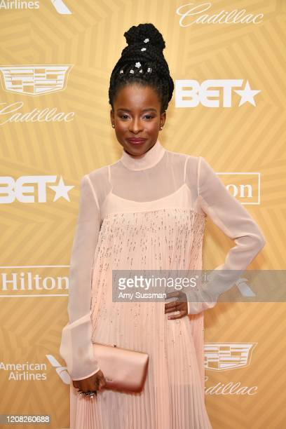 Amanda Gorman attends the American Black Film Festival Honors Awards Ceremony at The Beverly Hilton Hotel on February 23, 2020 in Beverly Hills,...