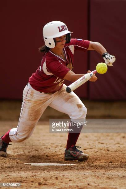Amanda Gutmaker of University of Alabama in Huntsville attempts a bunt during the Division II Women's Softball Championship held at the James I....