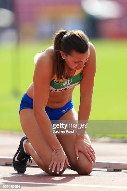 Amanda Hansson of Sweden reacts after being disqualified during heat 3 of the women's 100m hurdles on day four of The IAAF World U20 Championships on...