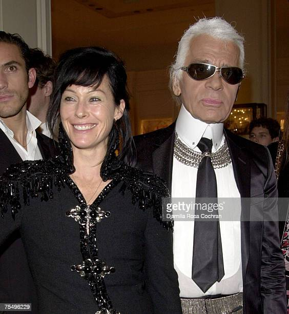 Amanda Harlech and Karl Lagerfeld at the Bergdorf Goodman in New York City New York