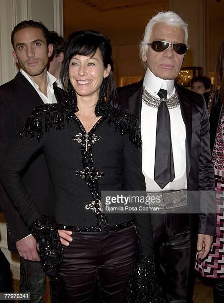 Amanda Harlech and Karl Lagerfeld