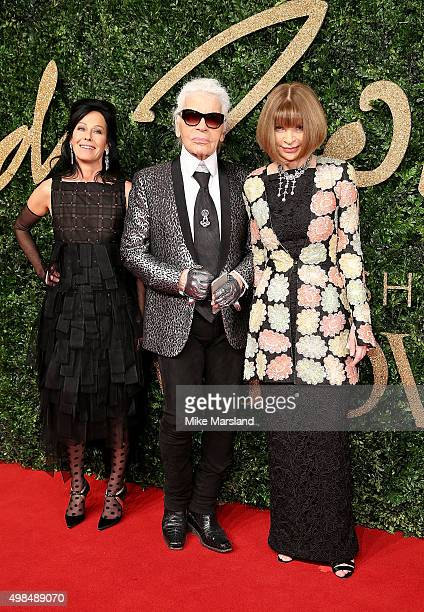 Amanda Harlech Anna Wintour and Karl Lagerfeld attend the British Fashion Awards 2015 at London Coliseum on November 23 2015 in London England
