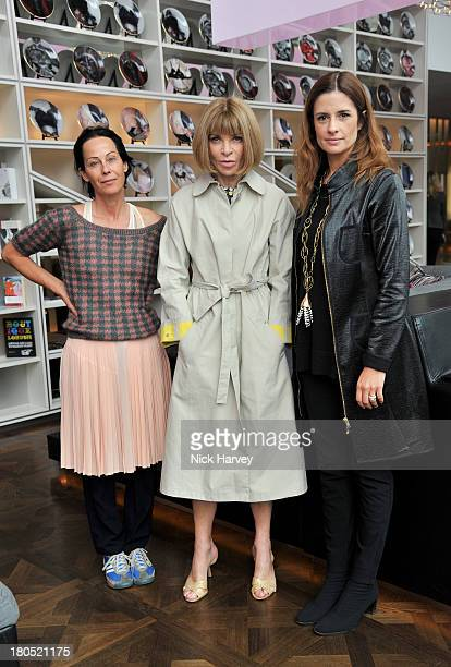 Amanda Harlech Anna Wintour and Livia Firth attend the EcoAge and Green Carpet Challenge screening of Handprint at W London Leicester Square on...