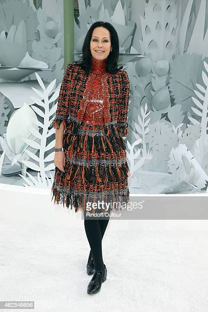 Amanda Harlech attends the Chanel show as part of Paris Fashion Week Haute Couture Spring/Summer 2015 on January 27 2015 in Paris France