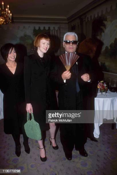 Amanda Harlech Karen Elson and Karl Lagerfeld attend Night of Stars on September 18 1997 in New York City
