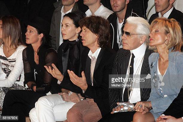 Amanda Harlech L'wren Scott Mick Jagger and Helene Mercier ArnaultDior's Men fashion Showdesigned by Heidi Slimaneon July 1st 2005 in Paris France