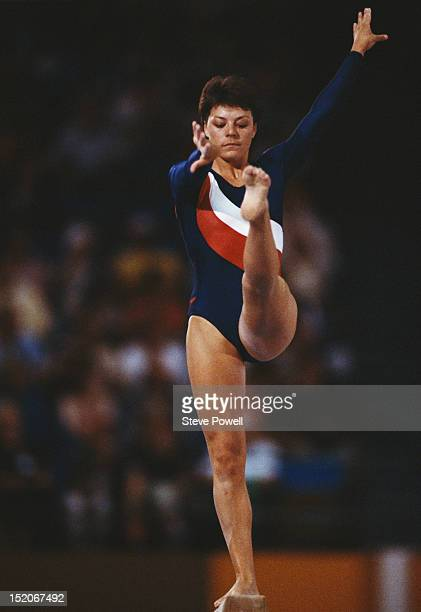 Amanda Harrison of Great Britain performs during the Women's Balance Beam event on 5th August 1984 during the XXIII Olympic Summer Games at the Edwin...