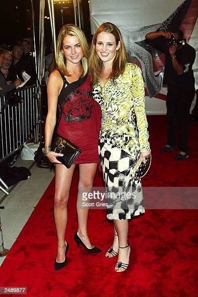 Amanda Hearst and Gillian Hearst arrive at a party to celebrate the opening of the Salvatore Ferragamo New York flagship store September 12 2003 in...
