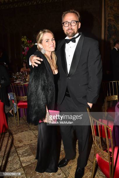 Amanda Hearst and Joachim Ronning attend Hearst Castle Preservation Foundation Hollywood Royalty Dinner at Hearst Castle on September 28 2018 in San...