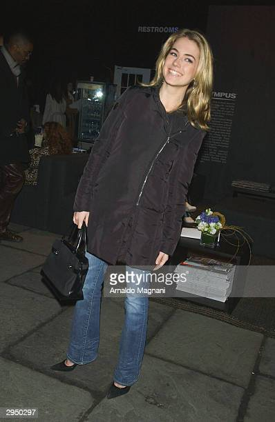 Amanda Hearst arrives at the Luca Luca fashion show at Bryant Park during the Olympus 2004 Fall Fashion Show February 8 2004 in New York City