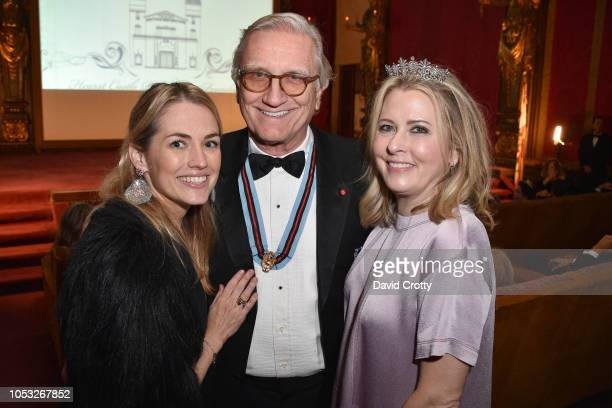 Amanda Hearst Robert Marx and Hillary Marx attend Hearst Castle Preservation Foundation Hollywood Royalty Dinner at Hearst Castle on September 28...