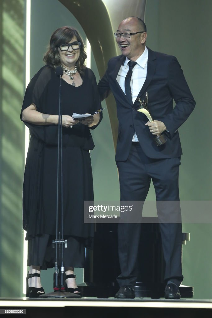 Amanda Higgs and Tony Ayres accept the AACTA Award for Best Screenplay in Television during the 7th AACTA Awards Presented by Foxtel | Ceremony at The Star on December 6, 2017 in Sydney, Australia.