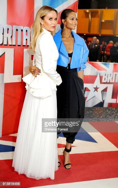 Amanda Holden and Alesha Dixon attend the Britain's Got Talent Manchester auditions at The Lowry on February 8 2018 in Manchester England
